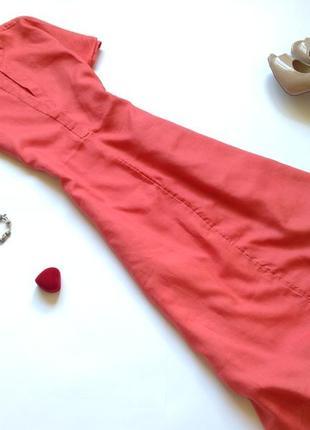 Льняное платье рубашка миди