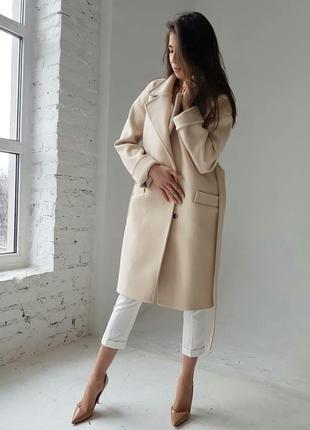 Красивое пальто в бежевом цвете на весну -осень. шерсть.