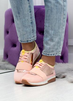 Новинка 2019 стильные женские кроссовки цвета пудра