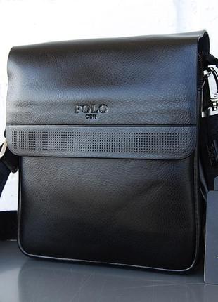 Небольшая мужская сумка - планшет polo с ручкой на 3 отдела. кс40