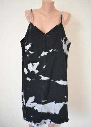 Стильное джинсовое платье-комбинация с необработанным краем asos большого размера