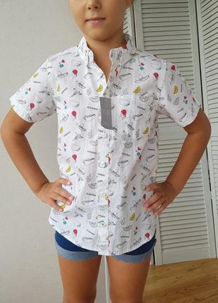 Рубашка для мальчика  белая с принтом3 фото