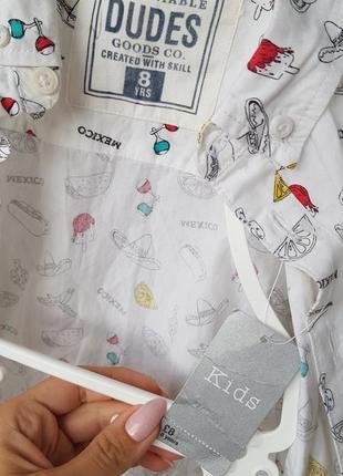Рубашка для мальчика  белая с принтом7 фото