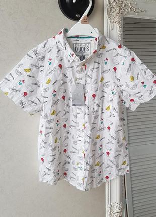 Рубашка для мальчика  белая с принтом10 фото