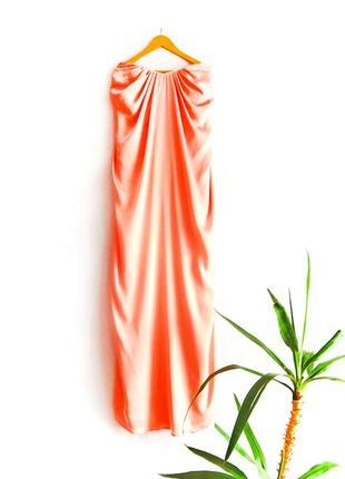 Атласное макси платье h&m с открытой спинкой