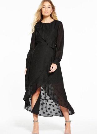 Распродажа до 31.07‼️‼️шикарнейшее асимметричное легкое платье в звезды с рюшами воланами