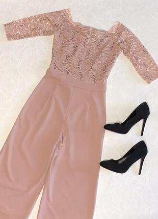 Шикарный нежно- розовый пудровый ромпер комбинезон кюлоты quiz4 фото