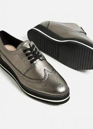 Кожаные туфли,криперы на платформе uterque
