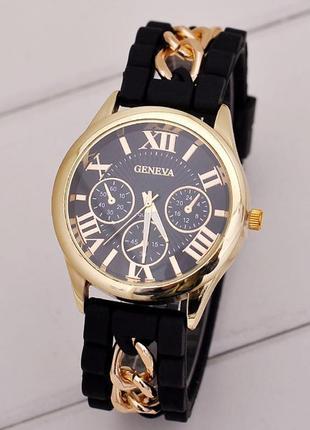 Часы наручные geneva цвет чёрный с цепочкой