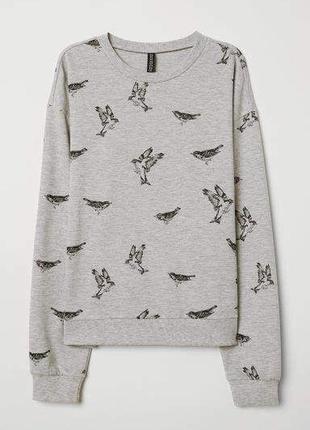 Хлопковый свитшот с принтом птиц свитер h&m кофта хлопок