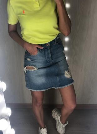 Юбка джинсовая завышенная талия