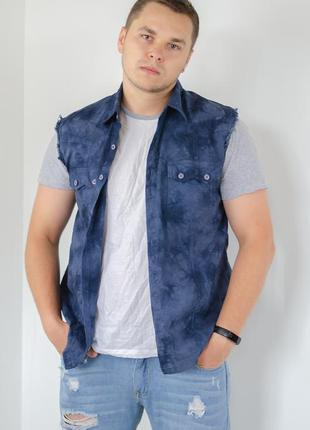 Nisco синяя винтажная рубашка без рукавов с карманами и принтом тай-дай