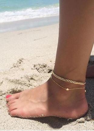 Двойной браслет на ногу золотистого цвета