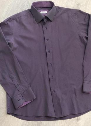 Мужская рубашка в мелкую полоску slim fit . 100% cotton