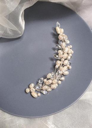 Свадебная веточка с натуральным жемчугом