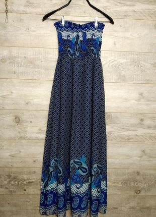 Легкое длинное летнее шифоновое платье макси