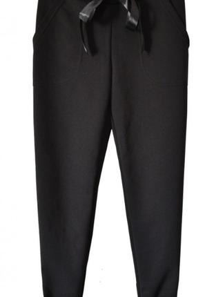 Черные, трикотажные брюки с начесом gee
