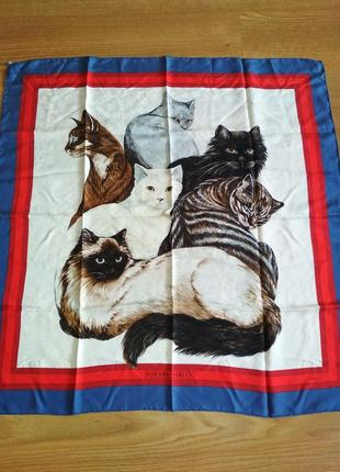 Hermes silk scarf carre les chats cats daphne duchesne
