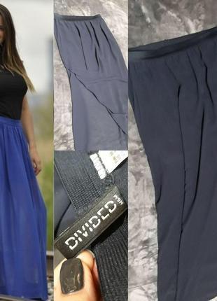 Длинная шифонов синяя юбка
