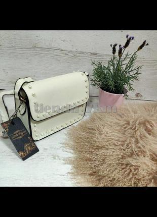 Повседневная сумка через плечо / клатч little pigeon с бусинками 89008 бежевый