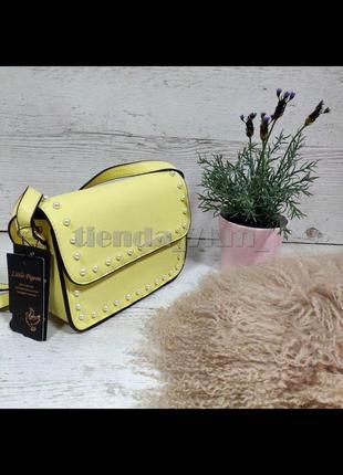 Повседневная сумка через плечо / клатч little pigeon с бусинками 89008 желтый
