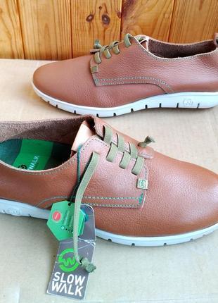 Новые стильные кожаные комфортные мокасины туфли кроссовки slow walk