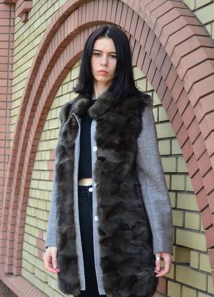 Шуба-пальто из соболя и кашемира