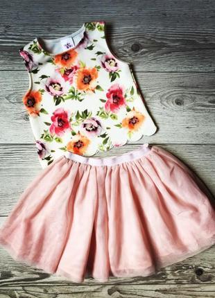 Топ в цветочек, фатиновая юбка