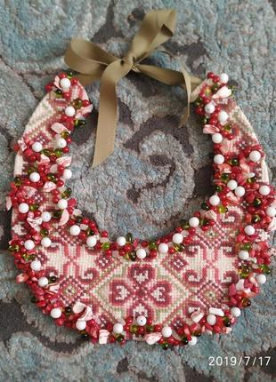 Бусы вышивка handmade с натуральным камнем