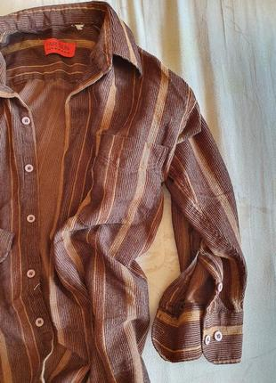 Мужская полосатая трикотажная коттоновая в полоску рубашка