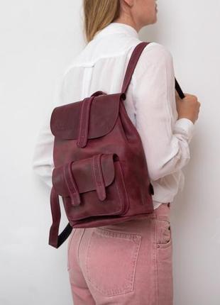 Женский городской  рюкзак среднего размера из натуральной кожи стильный легкий3 фото