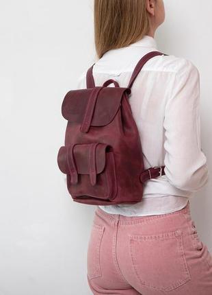 Женский городской  рюкзак среднего размера из натуральной кожи стильный легкий1 фото