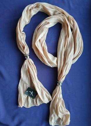 Новый  трикотажный шарф, цвет-nude, atmosphere, 185×35