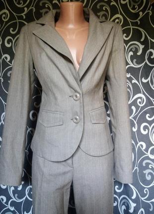 Стильный деловой офисный костюм в полоску 34% вискоза клеш кюлоты палаццо