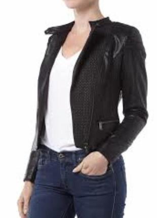 Куртка косуха экокожа стильный модный дорогой бренд guess размер s