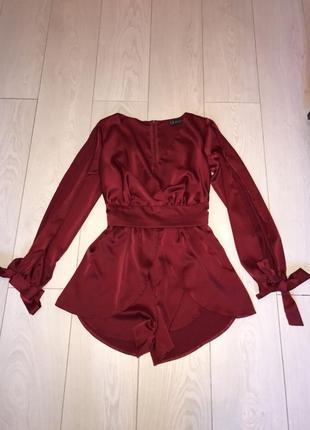 Комбинезон красный ромпер шелковый атлас шорты нарядный вечерний zara