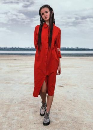 Базовое льняное платье-рубашка, оверсайз 42-46