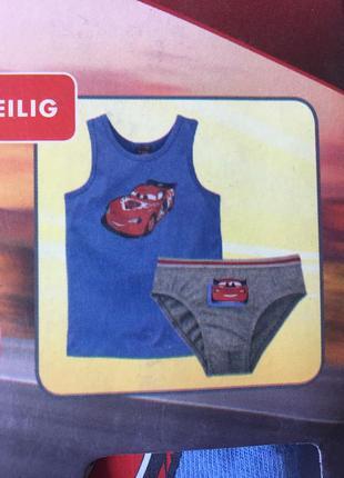 Комплект детского нижнего белья трусы майка набор тачки