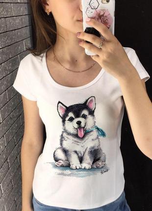 Женская футболка с принтом - песик