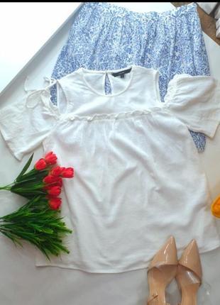 Блуза коттоновая белая vero moda рукава воланы размер s новая