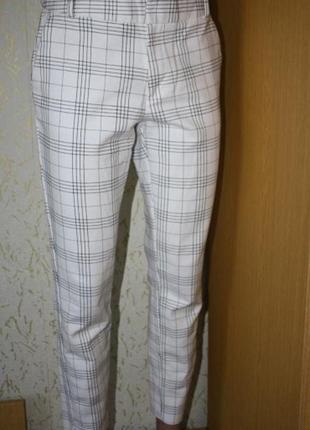 Белые укороченные брюки клетка, ид. сост., s-m