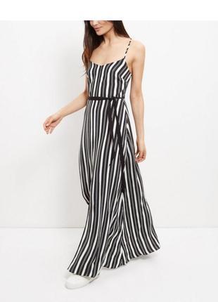 Длинный сарафан в пол макси вертикальная полоска с разрезом вискоза летнее платье