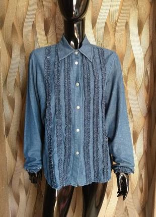 -50% на вторую вещь красивая джинсовая рубашка per'una uk 14 наш 48