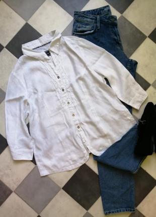 Белая льяная рубашка от c&a