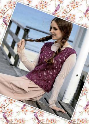 Ажурный итальянский фиолетовый жилет#безрукавка за полцены