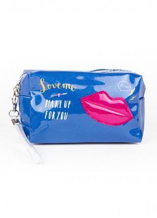 Косметичка kiss синяя-