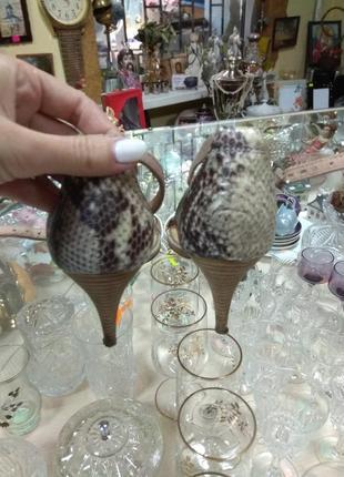 Кожаные босоножки змеиный принт6 фото