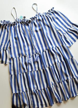 Летнее свободное платье с открытыми плечами в полоску вискоза