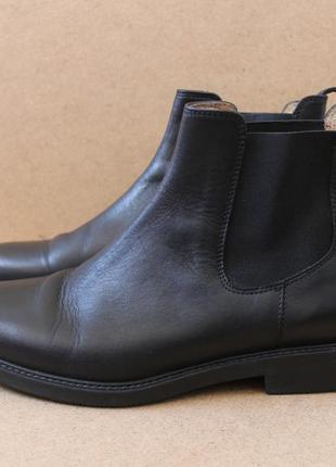 Кожаные ботинки осенние челси чёрные ecco