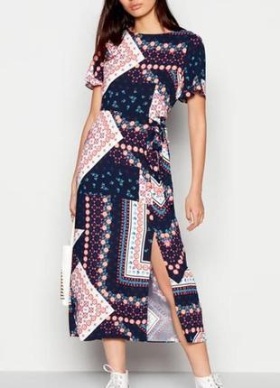 Платье из вискозы в графический принт,бохо стиль